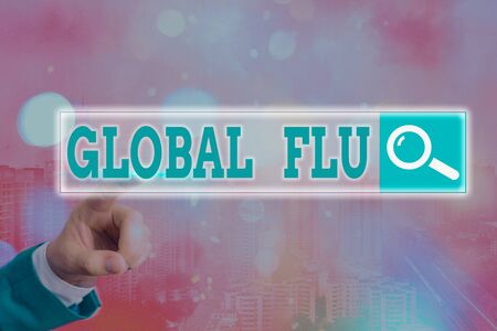 Handwriting text writing Global Flu. Conceptual photo Common communicable illness spreading over the worldwide fastly Web search digital information futuristic technology network connection