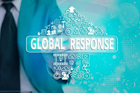 Handwriting text writing Global Response. Conceptual photo indicates the behaviour of material away from impact point Information digital technology network connection infographic elements icon