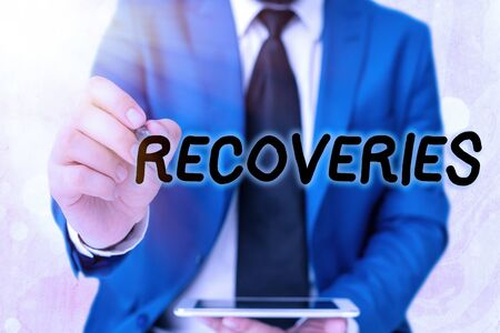 Word writing text Recoveries. Business photo showcasing process of regaining possession or control of something lost Touching screen digital application marking important details in business
