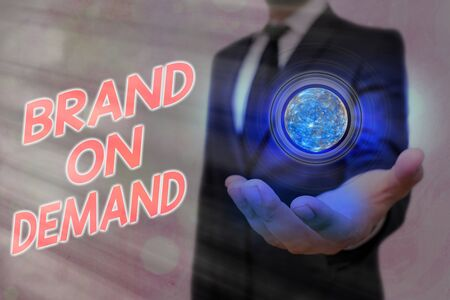 Word writing text Brand On Demand. Business photo showcasing Products or services with direct awareness and benefit to consumers Stock Photo