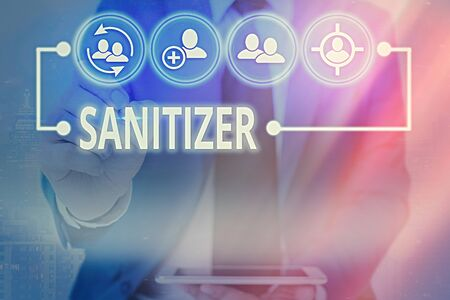 Writing note showing Sanitizer. Business concept for liquid or gel generally used to decrease infectious agents Information digital technology network infographic elements 스톡 콘텐츠
