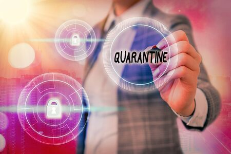 Text sign showing Quarantine. Business photo showcasing restraint upon the activities of an individual or the transport of goods Graphics padlock for web data information security application system 写真素材