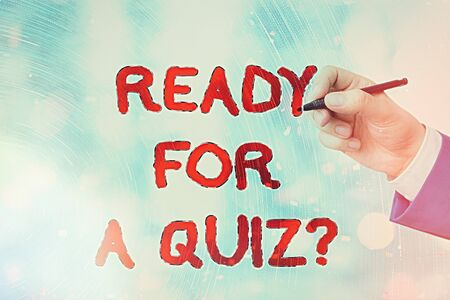 Conceptual hand writing showing Ready For A Quiz Question. Concept meaning Taking educational assessment Preparing an exam