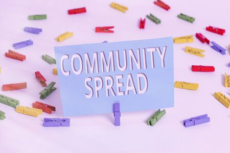 Text sign showing Community Spread. Business photo text dissemination of a highlycontagious disease within the local area Colored clothespin papers empty reminder white floor background office