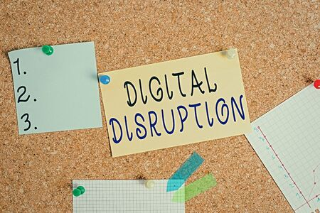 Word writing text Digital Disruption. Business photo showcasing occur when technologies affect value proposition of goods Corkboard color size paper pin thumbtack tack sheet billboard notice board Imagens