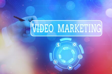 Text sign showing Video Marketing. Business photo text using videos to promote and market your product or service