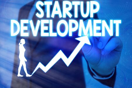 Handwriting text Startup Development. Conceptual photo developing idea which signifying birth of the business