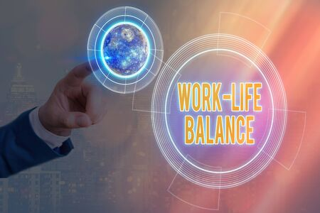 Conceptual hand writing showing Work life Balance. Concept meaning prioritization between an individual and professional activity Solar system image.