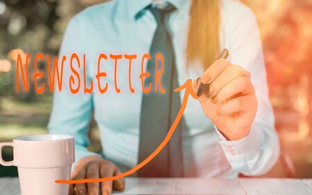 Text sign showing Newsletter. Business photo text the bulletin was given to members of a company regularly digital arrowhead curve rising upward denoting growth development concept