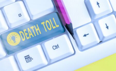 Word writing text Death Toll. Business photo showcasing the number of deaths resulting from a particular incident White pc keyboard with empty note paper above white key copy space Stock fotó