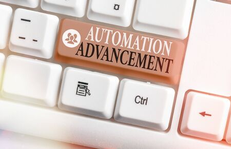 Conceptual hand writing showing Automation Advancement. Concept meaning growth use of control systems for operating equipment Stock fotó