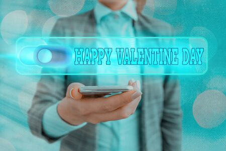 Text sign showing Happy Valentine Day. Business photo showcasing a special day for lovers to express their affection to themselves