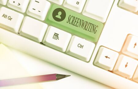 Word writing text Screenwriting. Business photo showcasing the art and craft of writing scripts for media communication White pc keyboard with empty note paper above white key copy space