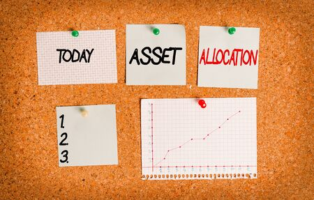 Text sign showing Asset Allocation. Business photo text proportion and implementation strategy to gain advantage Corkboard color size paper pin thumbtack tack sheet billboard notice board Foto de archivo