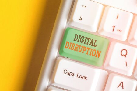 Text sign showing Digital Disruption. Business photo showcasing occur when technologies affect value proposition of goods Imagens