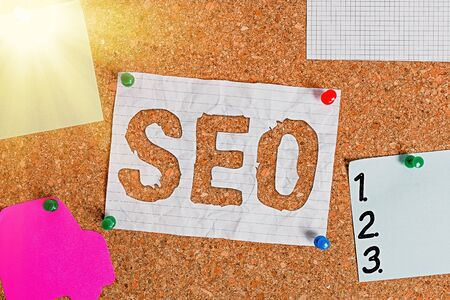 Text sign showing Seo. Business photo text search engine optimization increasing quality and quantity of traffic Corkboard color size paper pin thumbtack tack sheet billboard notice board