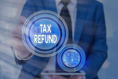 Text sign showing Tax Refund. Business photo text excess payment of paid taxes returned to business owners Futuristic icons solar system.