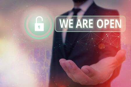 Text sign showing We Are Open. Business photo showcasing no enclosing or confining barrier, accessible on all sides Graphics padlock for web data information security application system