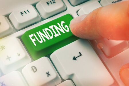 Text sign showing Funding. Business photo text act of providing resources to finance a need, program, or project