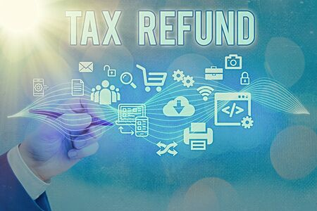 Text sign showing Tax Refund. Business photo text excess payment of paid taxes returned to business owners Information digital technology network connection infographic elements icon