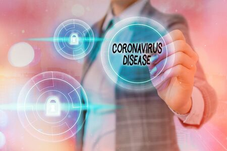 Text sign showing Coronavirus Disease. Business photo showcasing defined as illness caused by a novel virus SARSCoV2 Graphics padlock for web data information security application system