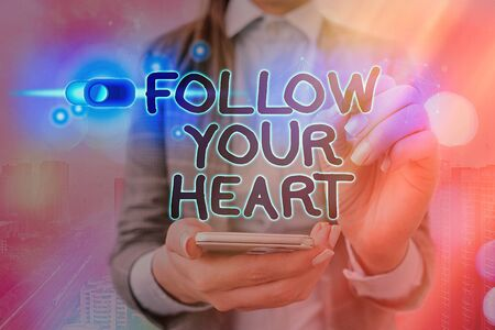 Word writing text Follow Your Heart. Business photo showcasing Motivation to do what is right and fulfill your desire 版權商用圖片