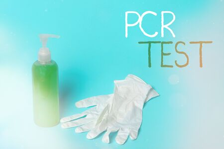 Conceptual hand writing showing Pcr Test. Concept meaning qualitative detection of viral genome within the short seqeunce of DNA Primary medical precautionary equipments health protection