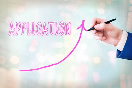 Writing note showing Application. Business concept for an order for something formal and usually written form Digital arrowhead curve denoting growth development concept
