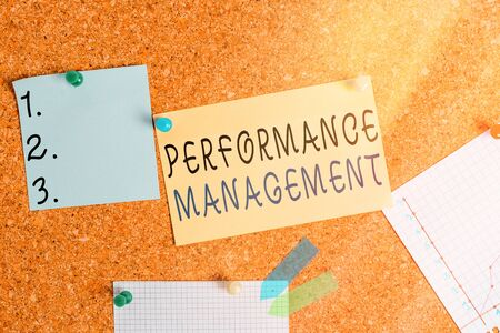 Word writing text Performance Management. Business photo showcasing ongoing process of communication that occurs all year Corkboard color size paper pin thumbtack tack sheet billboard notice board