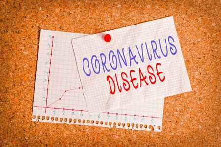 Handwriting text writing Coronavirus Disease. Conceptual photo defined as illness caused by a novel virus SARSCoV2 Corkboard color size paper pin thumbtack tack sheet billboard notice board 스톡 콘텐츠