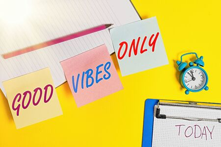 Handwriting text writing Good Vibes Only. Conceptual photo a positive way of living and optimism with good effect to other showing Flat lay above table with blank papers with copy space for text messages