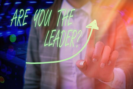 Text sign showing Are You The Leader Question. Business photo text asking for the qualification of being a good boss digital arrowhead curve rising upward denoting growth development concept Standard-Bild