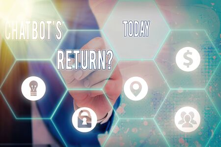 Writing note showing Chatbot s is Return Question. Business concept for program that communicate use text interface and AI Grids and different icons latest digital technology concept