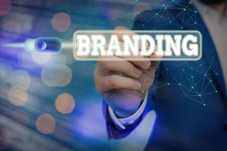 Word writing text Branding. Business photo showcasing promotion of product by means of advertising and distinctive design Graphics padlock for web data information security application system