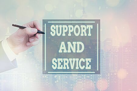 Conceptual hand writing showing Support And Service. Concept meaning Technical Assistance Customer Service Business Technology Internet