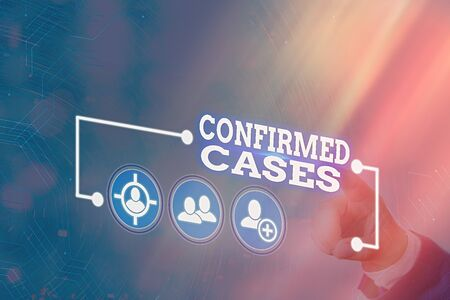 Conceptual hand writing showing Confirmed Cases. Concept meaning set of circumstances or conditions requiring action Information digital technology network infographic elements