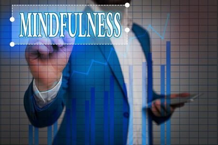 Text sign showing Mindfulness. Business photo showcasing state of mind attained by concentrating one s is attention Ascending growth trends movement performance financial chart status report