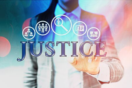 Handwriting text writing Justice. Conceptual photo use of power as appointed by law standards to support fair treatment Information digital technology network connection infographic elements icon