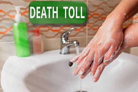 Word writing text Death Toll. Business photo showcasing the number of deaths resulting from a particular incident Handwashing procedures for decontamination and minimizing bacterial growth