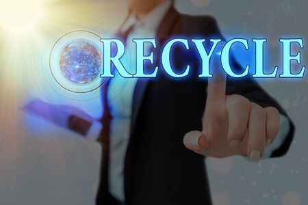 Word writing text Recycle. Business photo showcasing process of converting waste materials into new materials and objects Futuristic icons solar system.