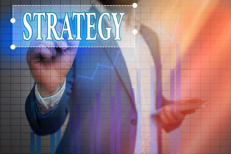 Text sign showing Strategy. Business photo showcasing action plan or strategy designed to achieve an overall goal Ascending growth trends movement performance financial chart status report Foto de archivo