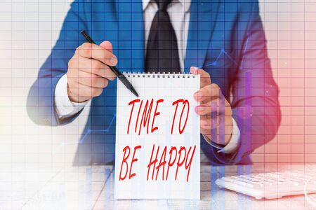 Writing note showing Time To Be Happy. Business concept for meaningful work Workers with a purpose Happiness workplace Ascending growth trends performance financial chart report