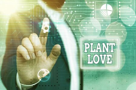 Text sign showing Plant Love. Business photo showcasing a symbol of emotional love, care and support showed to others System administrator control, gear configuration settings tools concept