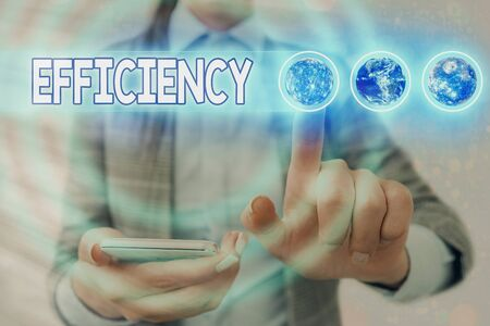 Word writing text Efficiency. Business photo showcasing ability to prevent a waste of resources energy money and time Futuristic icons solar system. Stock Photo
