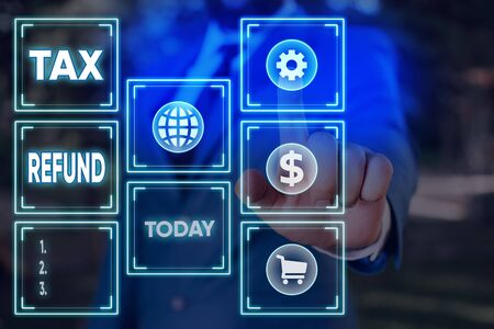 Word writing text Tax Refund. Business photo showcasing excess payment of paid taxes returned to business owners Information digital technology network connection infographic elements icon Foto de archivo