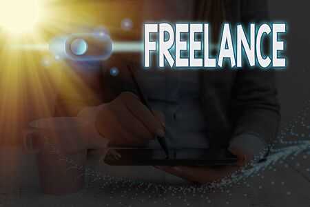Writing note showing Freelance. Business concept for working at different firms rather than being permanently Graphics padlock for web data information security application system