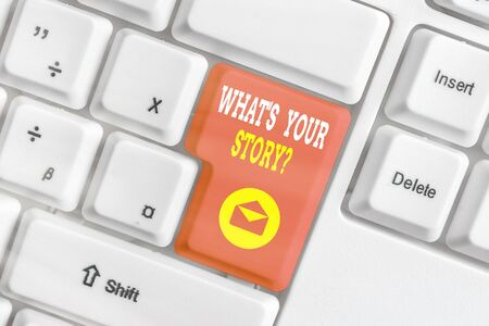 Word writing text What S Your Story Question. Business photo showcasing Share or tell us your life experiences and success White pc keyboard with empty note paper above white key copy space