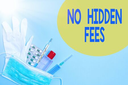 Writing note showing No Hidden Fees. Business concept for without or zero bank charge, service charge, or extras Primary medical precautionary equipments for health care protection Фото со стока