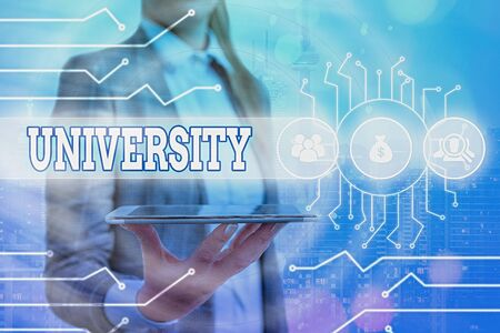 Conceptual hand writing showing University. Concept meaning an educational institution designed to teach and investigate System administrator control, gear configuration settings Stockfoto