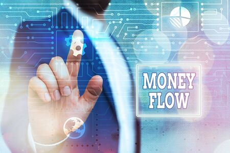 Text sign showing Money Flow. Business photo showcasing it is an indicator of positive or negative in a current day System administrator control, gear configuration settings tools concept Reklamní fotografie